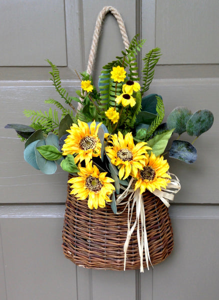 Autumn Sunflower Door Basket