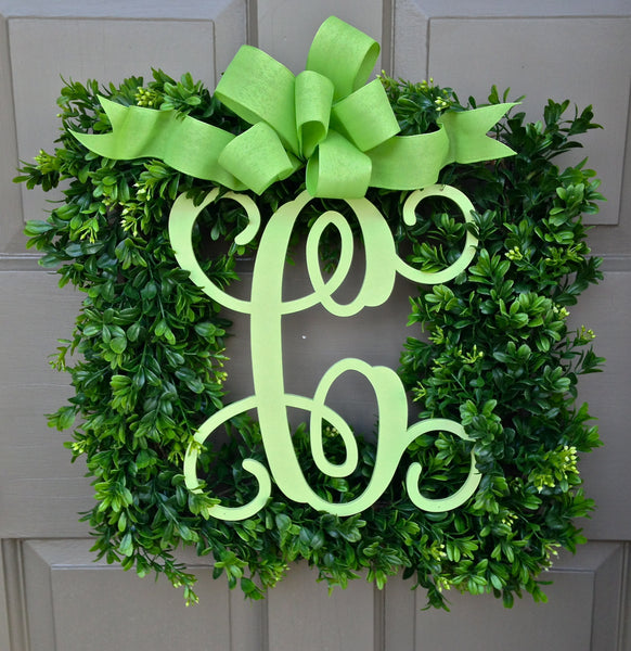 Monogram Boxwood Wreath-painted monogram-matching bow