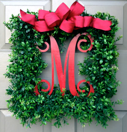 Merry Monogram Wreath (Red Bow)