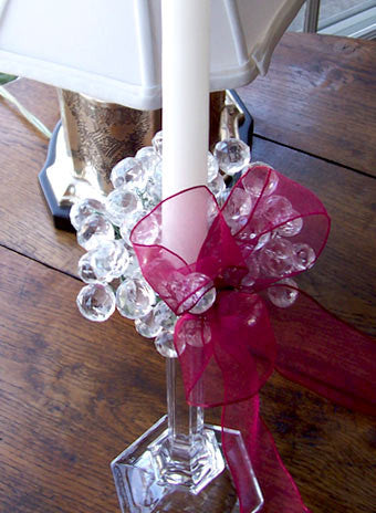 Crystal Candle Ring (burgundy bow)