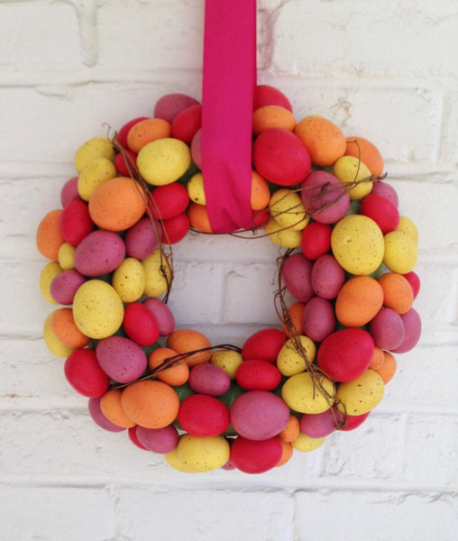 Pink & Yellow Easter Egg Wreath