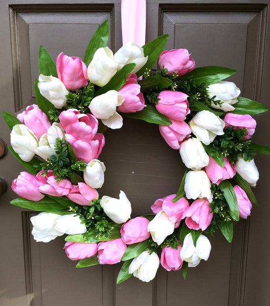 Pink & White Tulip Wreath