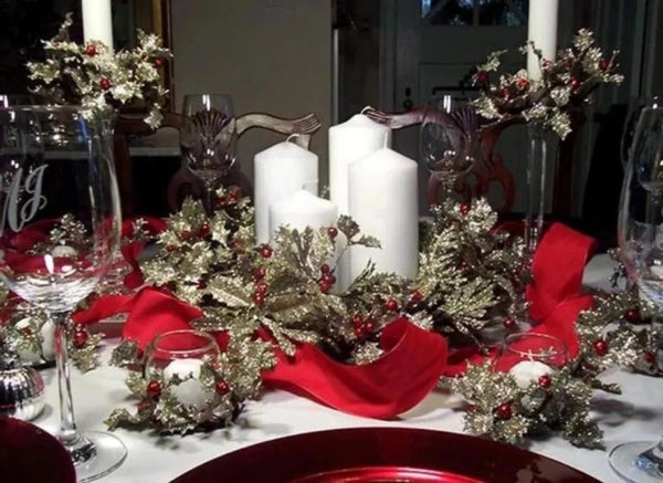 Glittering Silver Holly Centerpiece