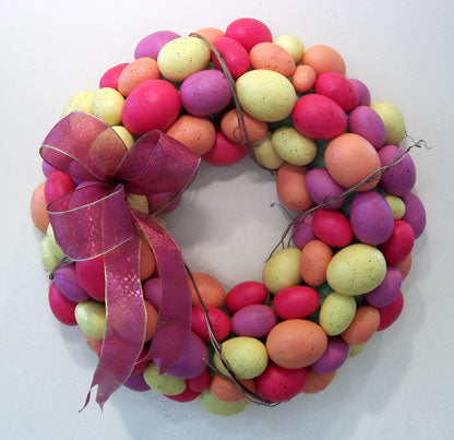 Faux Pink/Rose Egg Wreath