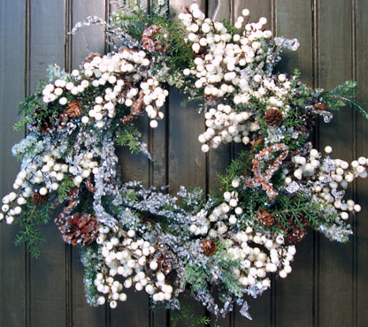 White Berry Iced Pine Wreath