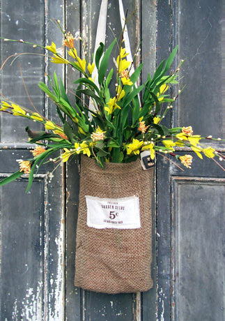 Burlap Bag with Forsythia