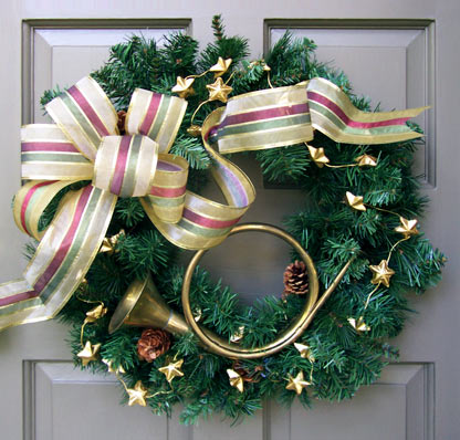 French Horn Holiday Wreath
