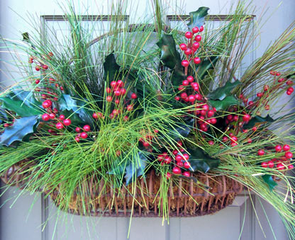 Festive Holiday Door Basket