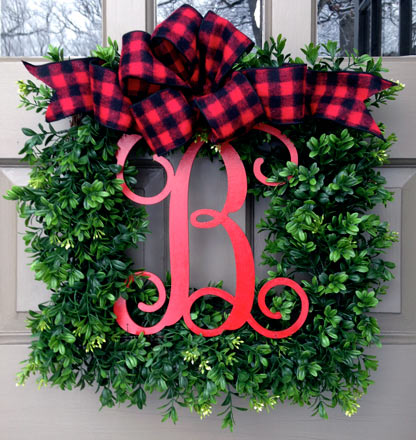 Merry Monogram Wreath (Buffalo Check Bow)