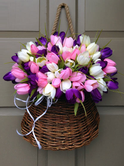 Pastel Tulip Door Basket