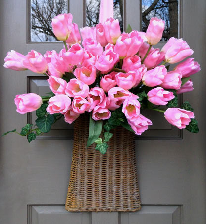 Lovely Pink Tulip Door Basket
