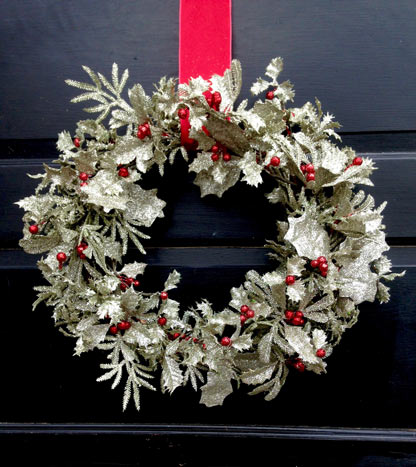 Glittering Silver Holly Wreath