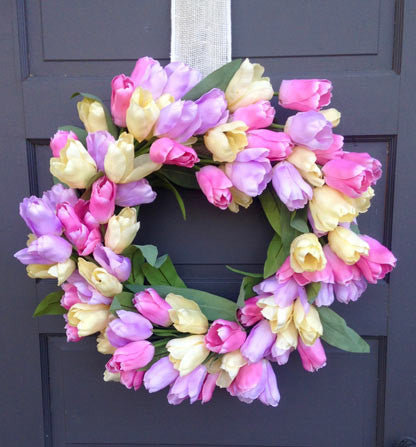 Glorious Pastel Tulip Wreath