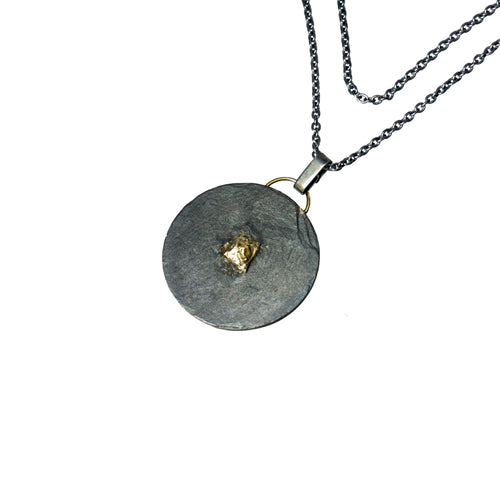blak big circle layered necklace