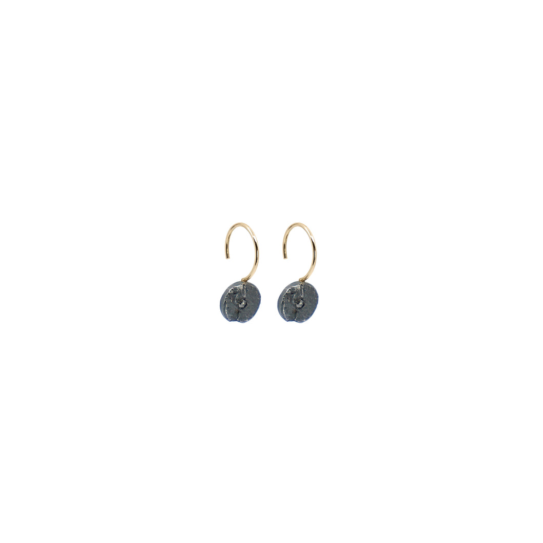 blak diamond mini circle earrings