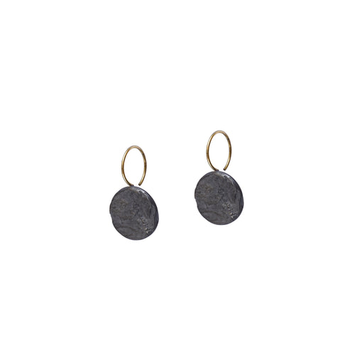 blak mini circle earrings