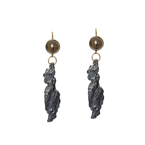 blak smoky quartz earrings