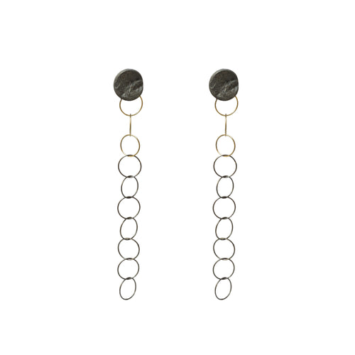 blak stiletto circle earrings