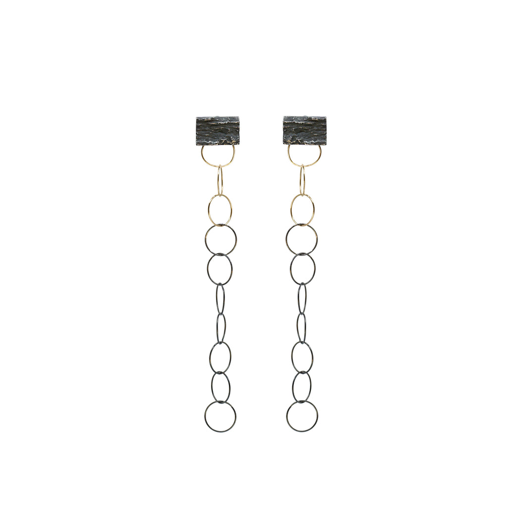blak stiletto rectangle earrings