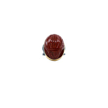 boho red scarab ring