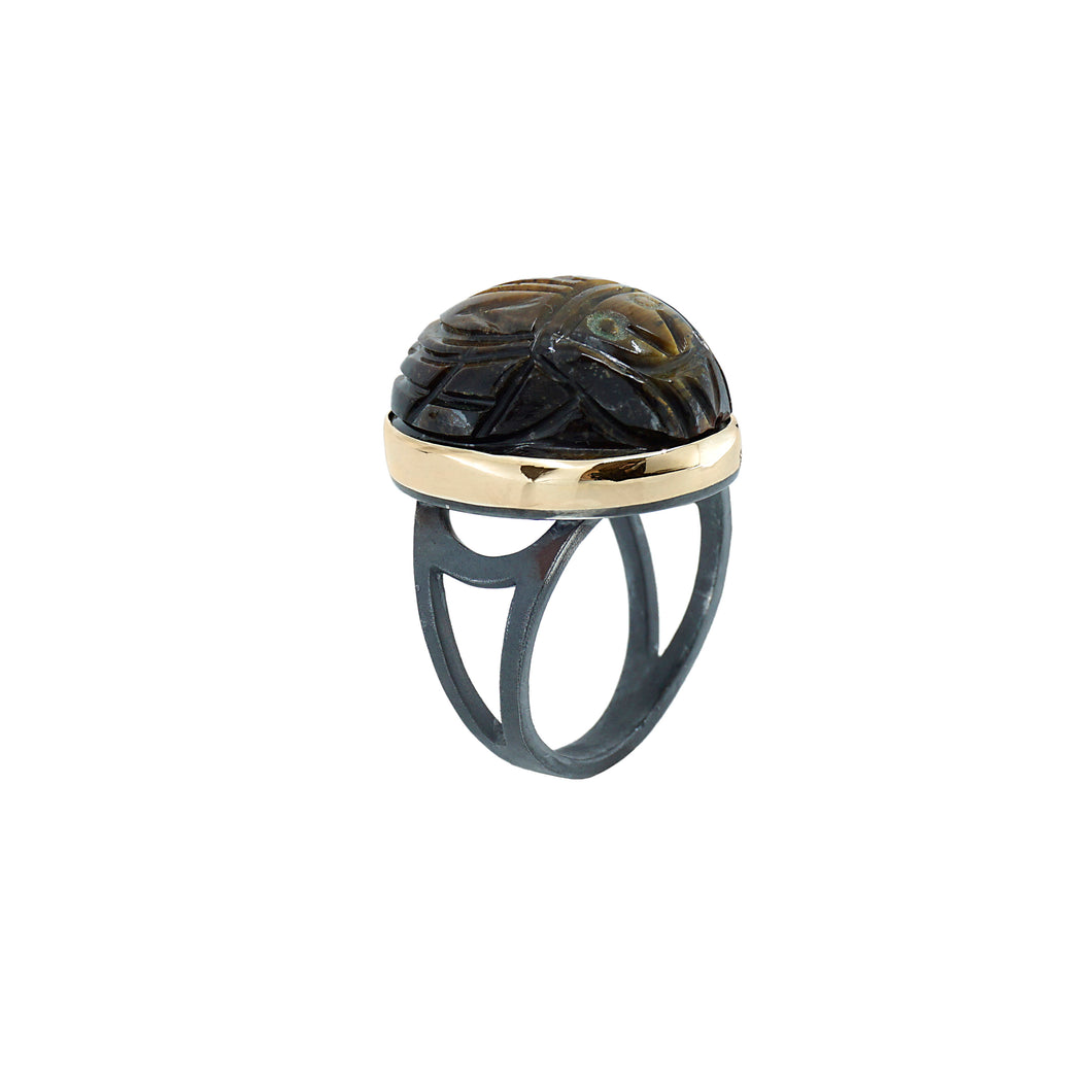 boho tiger scarab ring