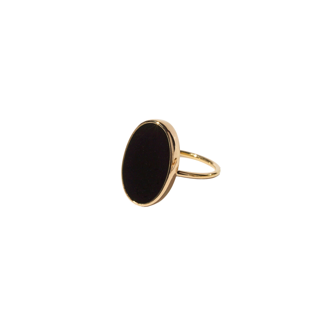 sade gold black pinkie ring