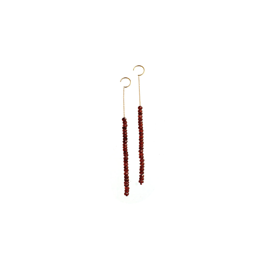boho red long earrings