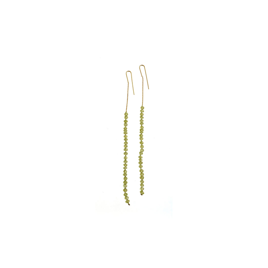boho green long earrings