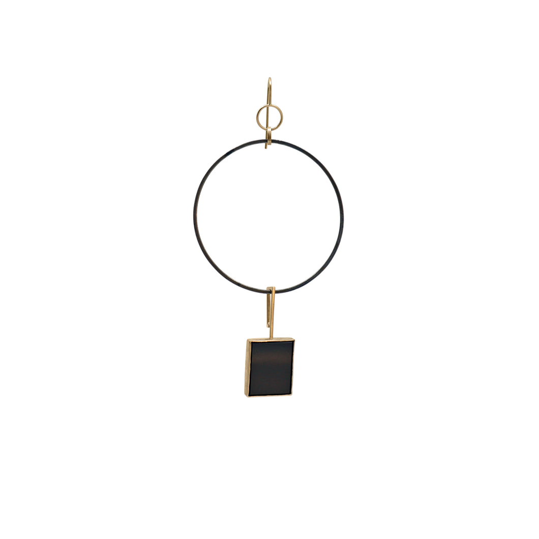 totem black horse rectangle earring