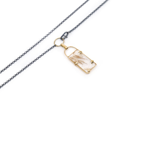 totem spider rectangle necklace