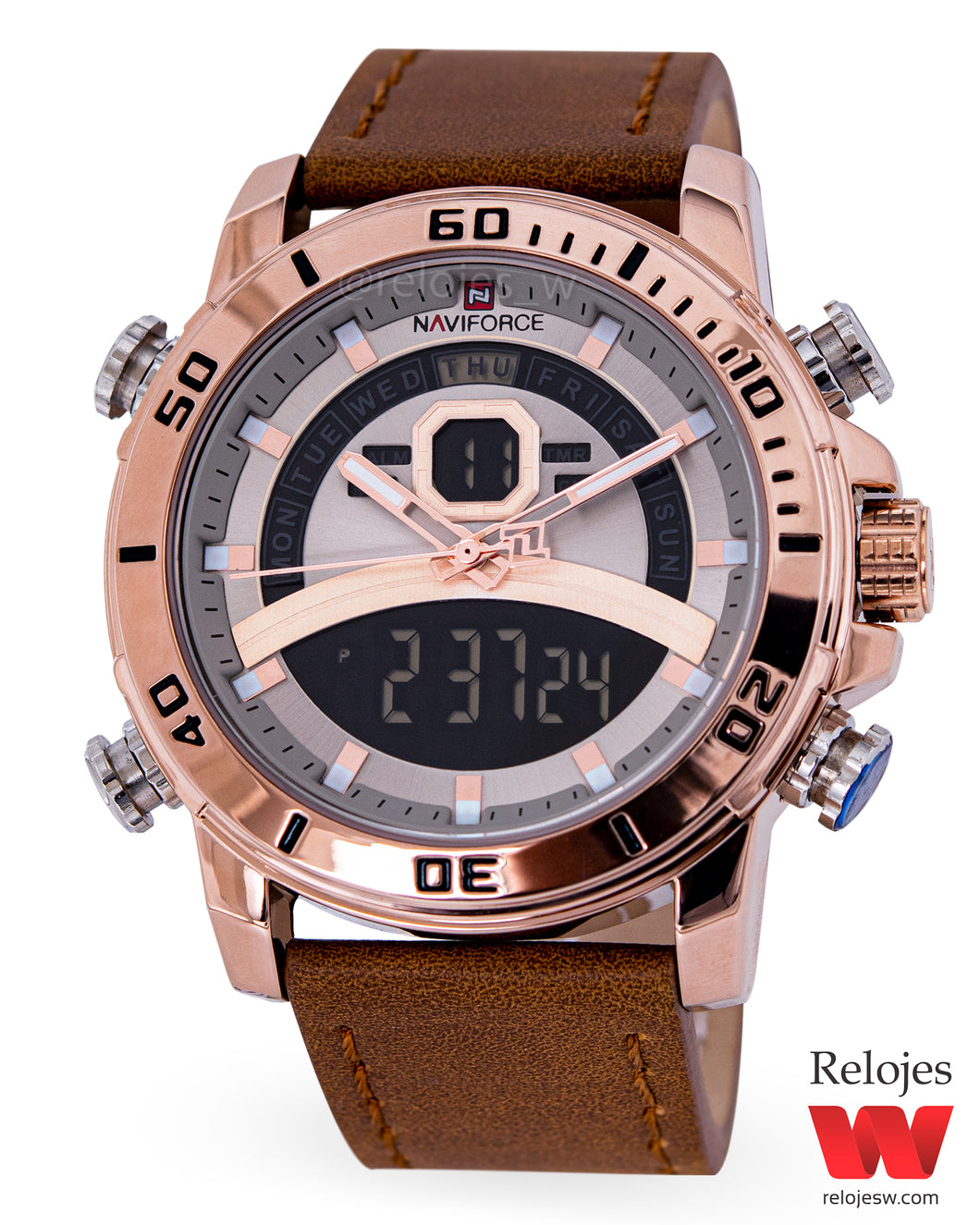 Reloj Naviforce Hombre NF9181M Cafe Oro Rosa