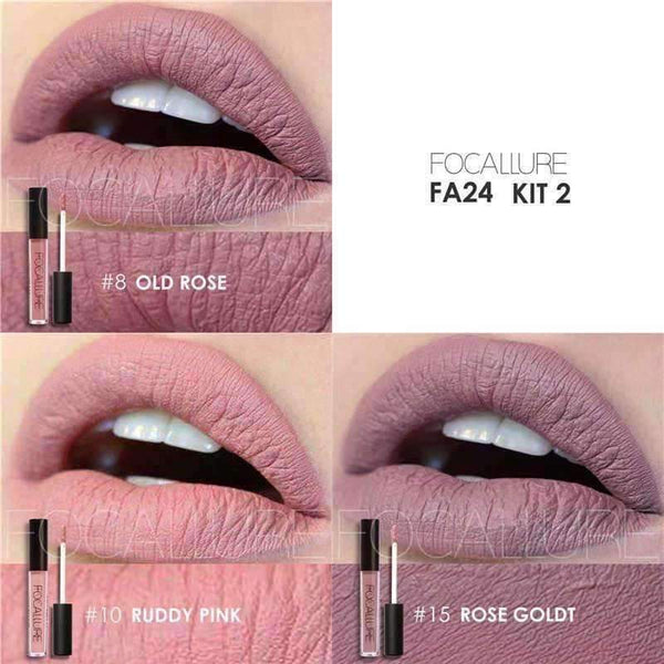 FOCALLURE 3 Sexy Colors Matte Liquid Lipstick- Viaz