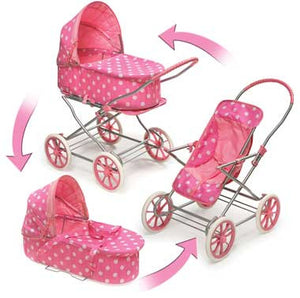 Badger Basket 3-in-1 Doll Pram, Carrier, and Stroller, Pink Polka Dots 00563 - The Creativity Institute