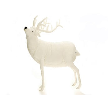 Hansa 0278 Mechanical White Reindeer Plush Stuffed Animal