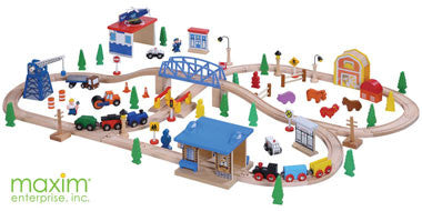 Maxim 100 Piece Wooden Train Set - 50117-DS