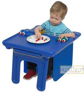 Children's Factory Chair Cubed and Edutray Combo - Blue Cube Chair