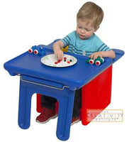 Children's Factory Chair Cubed and Edutray Combo - Red Cube Chair