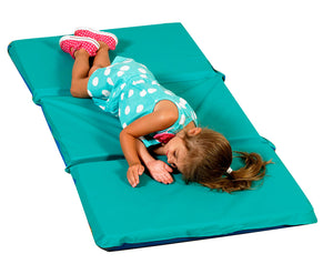 "Children's Factory Teal/Blue 3 Section, 2"" Thick Infection Control Rest Mats - Box of 5"