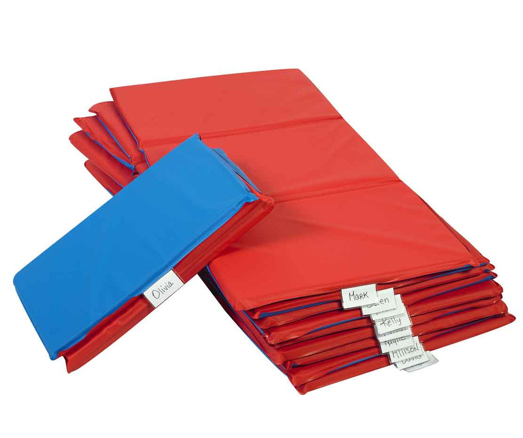 "Children's Factory Red/Blue 3-Section, 1"" Thick Infection Control Rest Mat - 10 Pack"