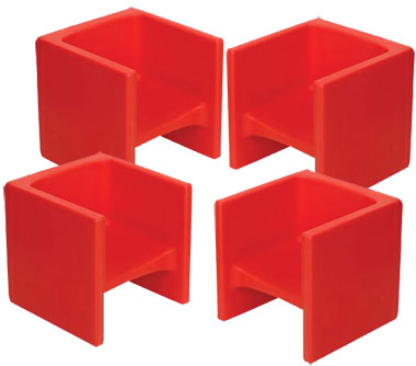 Children's Factory Chair Cubed 4 Pack - Red Cube Chairs