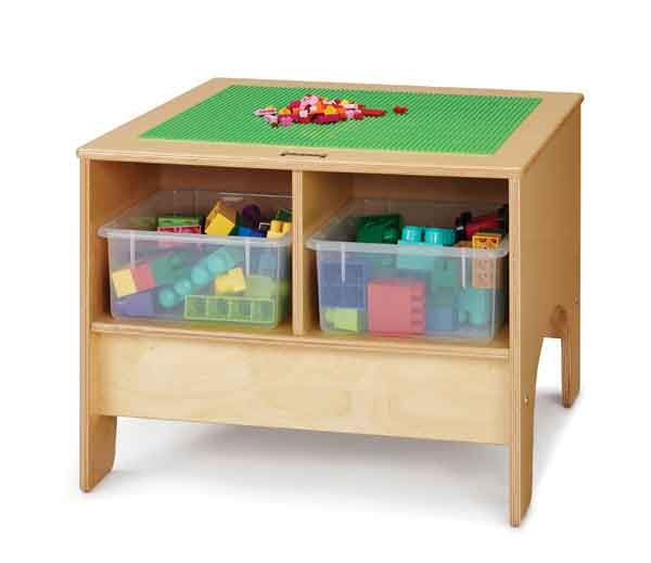 Jonti-Craft 57440JC KYDZ Building Table - Traditional Brick Compatible - with Clear Tubs - The Creativity Institute