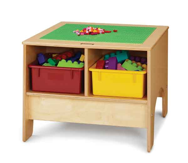 Jonti-Craft 57449JC Traditional Brick-Compatible KYDZ Building Table - COLORED Tubs