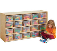 Jonti-Craft Young Time 20 Cubbie-Tray Storage - with Clear Bins