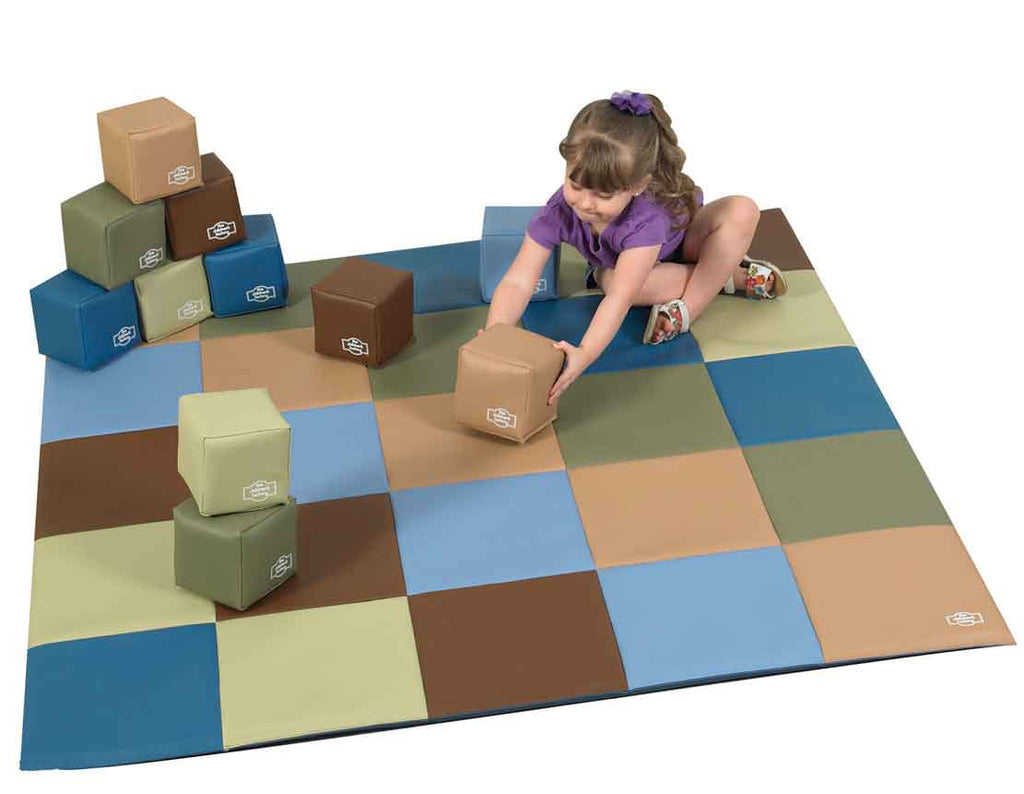 Children's Factory CF705-390 Cozy Woodland Patchwork Mat and Soft Block Set