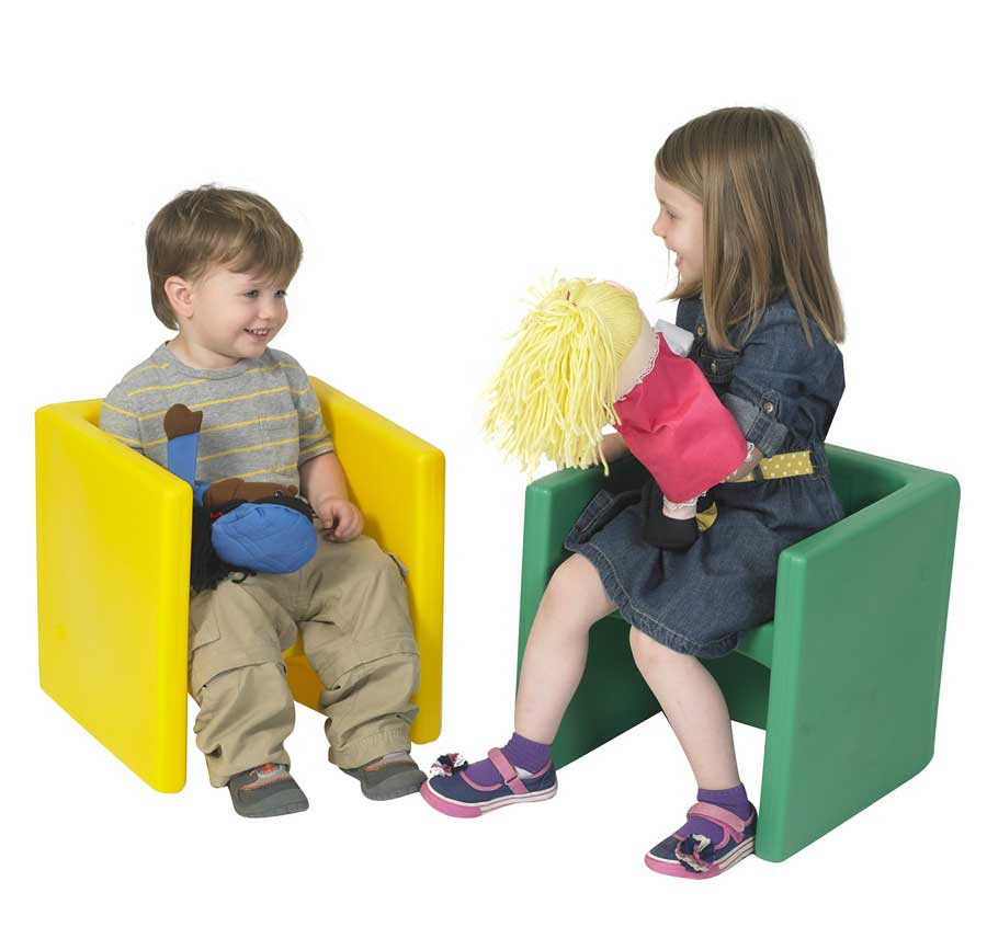Children's Factory Chair Cubes Set of 2 - Yellow and Green - CF910-081