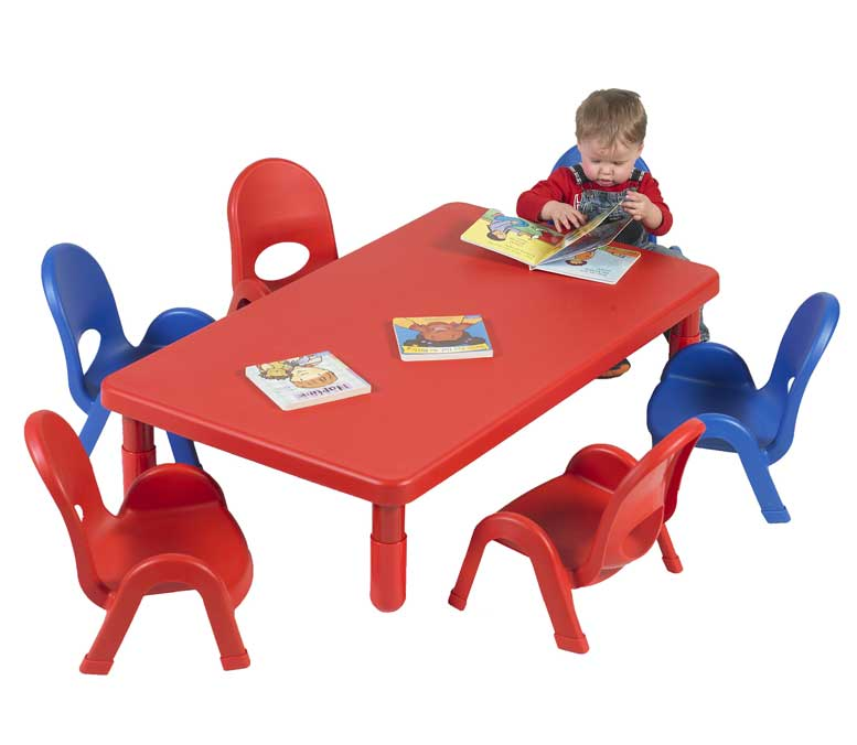 Angeles MyValue Toddler Rectangle Table and Chair Set - Candy Apple Red - The Creativity Institute