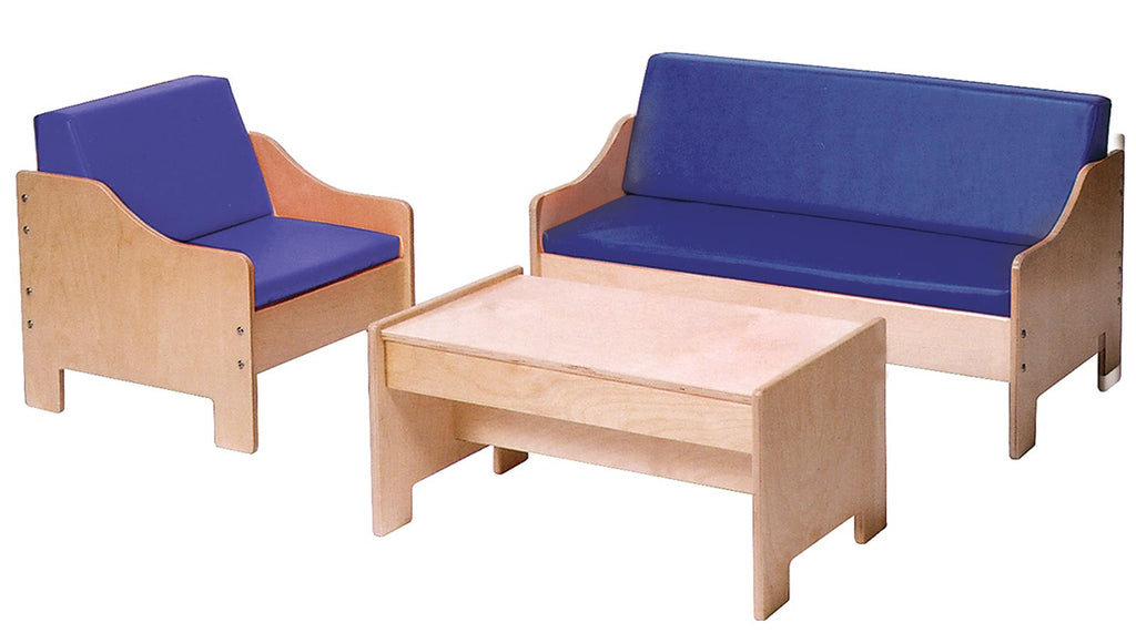 Angeles ANG1196 Chair, Sofa, Coffee Table Set - Blue - The Creativity Institute