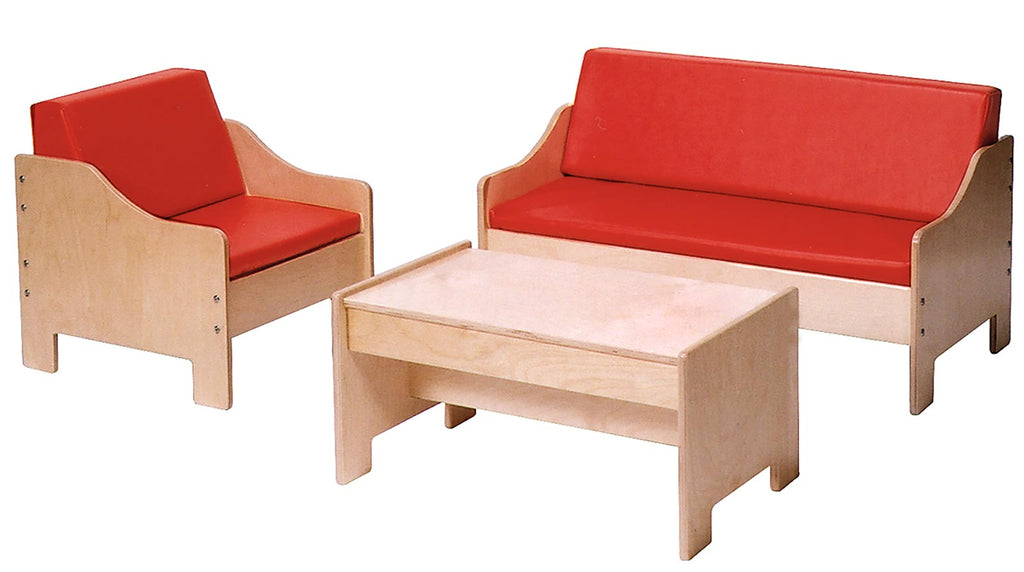 Angeles ANG1196 Chair, Sofa, Coffee Table Set - Red
