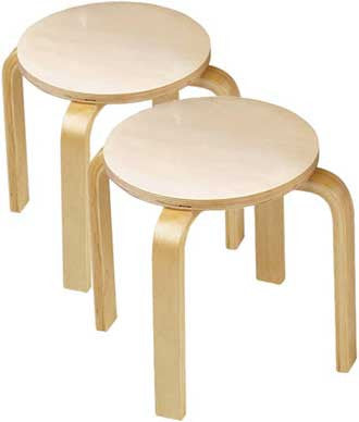 Anatex ST5004 Set of Two Wooden Sitting Stools