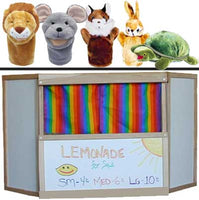 Aesop's Fables 5-Puppets & Beka Table-Top Puppet Theater & 4 Scripts